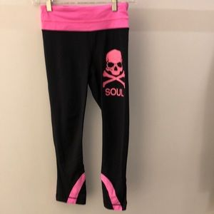 Lululemon black and pink crop legging, sz 2, 65293